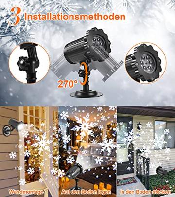 Projektor weihnachten außen GREEMPIRE LED Projektor lampe Schneeflocke Schneefall Lichter mit Fernbedienung,Wasserdicht projektionslampe Weihnachtsbeleuchtung für kinder baby party Innen und outdoor - 3