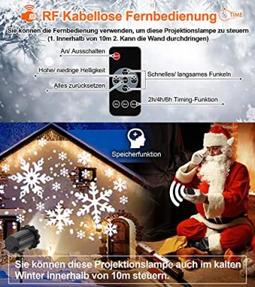 Projektor weihnachten außen GREEMPIRE LED Projektor lampe Schneeflocke Schneefall Lichter mit Fernbedienung,Wasserdicht projektionslampe Weihnachtsbeleuchtung für kinder baby party Innen und outdoor - 5