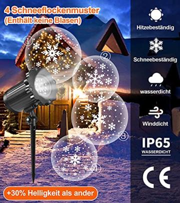 Projektor weihnachten außen GREEMPIRE LED Projektor lampe Schneeflocke Schneefall Lichter mit Fernbedienung,Wasserdicht projektionslampe Weihnachtsbeleuchtung für kinder baby party Innen und outdoor - 6