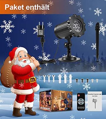 Projektor weihnachten außen GREEMPIRE LED Projektor lampe Schneeflocke Schneefall Lichter mit Fernbedienung,Wasserdicht projektionslampe Weihnachtsbeleuchtung für kinder baby party Innen und outdoor - 7