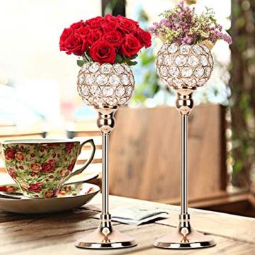 Queta Kerzenständer Kristall Kerzenhalter Vintage 2er Set für Stumpenkerzen, Wohnzimmer Kristall Deko, Tischdeko Hochzeit Weihnachten Geburtstag 32cm&37cm Höhe (Gold) - 6