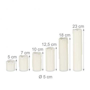 Relaxdays LED Kerzen Set, 6 Echtwachskerzen flammenlos, elektrische Kerzen flackernd, Batterie, Durchmesser 5 cm, creme - 4