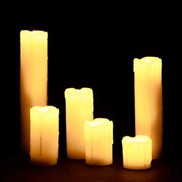 Relaxdays LED Kerzen Set, 6 Echtwachskerzen flammenlos, elektrische Kerzen flackernd, Batterie, Durchmesser 5 cm, creme - 1