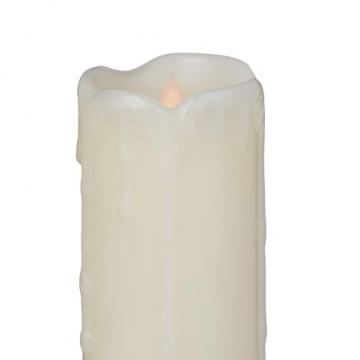 Relaxdays LED Kerzen Set, 6 Echtwachskerzen flammenlos, elektrische Kerzen flackernd, Batterie, Durchmesser 5 cm, creme - 6