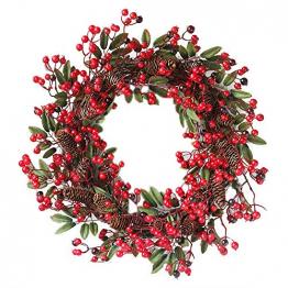 Rote Beeren Weihnachtskranz Ø 60cm, Hukz Künstlicher Türkranz Weihnachten Kranz Girlande für Haustür Deko Winter Haus Dekoration, Deko-Kranz Tannenkranz Adventskranz Weihnachts Weihnachtsgirlande - 1