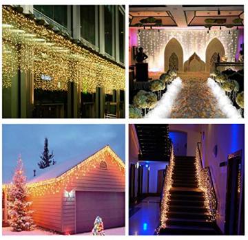 SALCAR 10m LED Lichtvorhang + 3m Netzkabel, dekorative LED Lichterkette mit 400 spritzwassergeschützten LEDs, 31V Sicherheitsnetzteil, 8 Betriebsmodi mit Memory-Funktion - Warmweiß - 2
