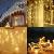 SALCAR 10m LED Lichtvorhang + 3m Netzkabel, dekorative LED Lichterkette mit 400 spritzwassergeschützten LEDs, 31V Sicherheitsnetzteil, 8 Betriebsmodi mit Memory-Funktion - Warmweiß - 3