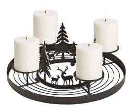 Schmucks HOME Adventskranz Metall mit 4 Kerzen Adventskranz modern Kerzenständer Adventskranz DIY - 1