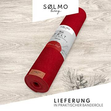 sølmo I Design Tischläufer aus Filz I 150x40cm Tischband I Abwaschbar mit Leder Label, Skandinavischer Tisch Filzläufer Frühjahr & Frühling (Rot) - 4