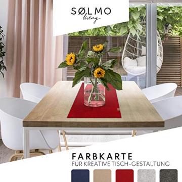 sølmo I Design Tischläufer aus Filz I 150x40cm Tischband I Abwaschbar mit Leder Label, Skandinavischer Tisch Filzläufer Frühjahr & Frühling (Rot) - 5