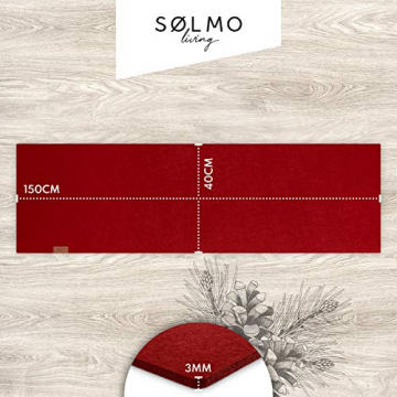 sølmo I Design Tischläufer aus Filz I 150x40cm Tischband I Abwaschbar mit Leder Label, Skandinavischer Tisch Filzläufer Frühjahr & Frühling (Rot) - 6