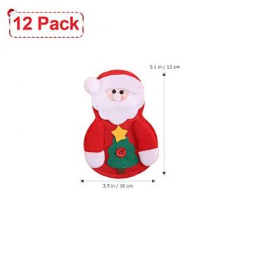 Sunshine smile Weihnachten Bestecktaschen,Geschirrhalter Besteckhalter Weihnachtsmann,Weihnachten Besteckhalter Bestecktasche,Weihnachtsmann Tischdeko,Weihnachten Dekoration Besteck(B, 12 PCS) - 2