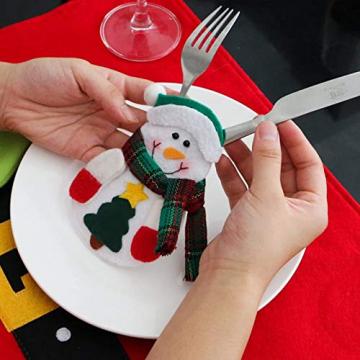 Sunshine smile Weihnachten Bestecktaschen,Geschirrhalter Besteckhalter Weihnachtsmann,Weihnachten Besteckhalter Bestecktasche,Weihnachtsmann Tischdeko,Weihnachten Dekoration Besteck(B, 12 PCS) - 3