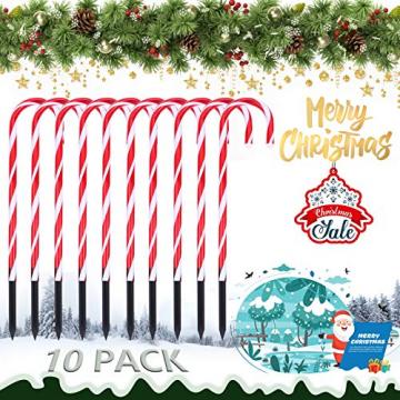 Surakey Festive LED Lichterkette - 10 Stück Weihnachten Beleuchtete Zuckerstangen Lichter Weihnachtsweg Marker, für Garten Dekoration, Gartenstecker Balkon Weihnachtsbeleuchtung Deko Außen - 2