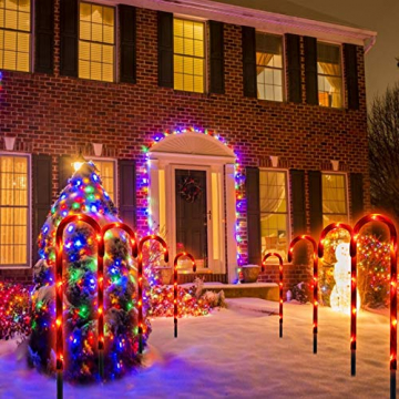 Surakey Festive LED Lichterkette - 10 Stück Weihnachten Beleuchtete Zuckerstangen Lichter Weihnachtsweg Marker, für Garten Dekoration, Gartenstecker Balkon Weihnachtsbeleuchtung Deko Außen - 4