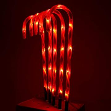 Surakey Festive LED Lichterkette - 10 Stück Weihnachten Beleuchtete Zuckerstangen Lichter Weihnachtsweg Marker, für Garten Dekoration, Gartenstecker Balkon Weihnachtsbeleuchtung Deko Außen - 5