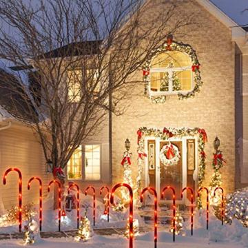 Surakey Festive LED Lichterkette - 10 Stück Weihnachten Beleuchtete Zuckerstangen Lichter Weihnachtsweg Marker, für Garten Dekoration, Gartenstecker Balkon Weihnachtsbeleuchtung Deko Außen - 6
