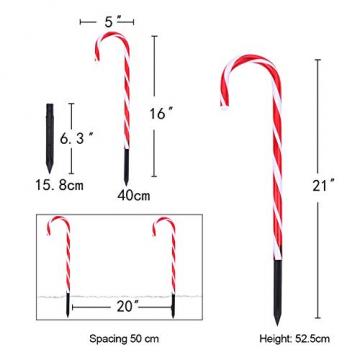 Surakey Festive LED Lichterkette - 10 Stück Weihnachten Beleuchtete Zuckerstangen Lichter Weihnachtsweg Marker, für Garten Dekoration, Gartenstecker Balkon Weihnachtsbeleuchtung Deko Außen - 7