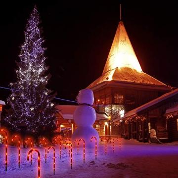 Surakey Festive LED Lichterkette - 10 Stück Weihnachten Beleuchtete Zuckerstangen Lichter Weihnachtsweg Marker, für Garten Dekoration, Gartenstecker Balkon Weihnachtsbeleuchtung Deko Außen - 8