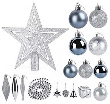 Sweelov Weihnachtsbaum Schmuck 73-teilig Weihnachtskugeln Glitzernd Kunststoff Christbaumschmuck Baumspitze Girlande und Sterne Silber/Grau/Blau, Ø6/4cm - 2