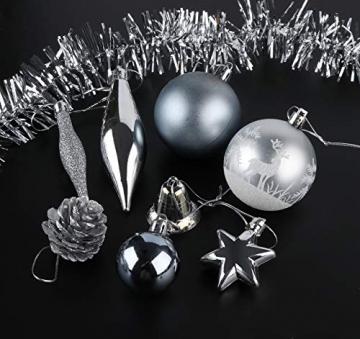 Sweelov Weihnachtsbaum Schmuck 73-teilig Weihnachtskugeln Glitzernd Kunststoff Christbaumschmuck Baumspitze Girlande und Sterne Silber/Grau/Blau, Ø6/4cm - 4
