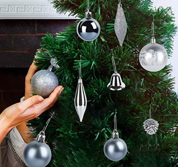 Sweelov Weihnachtsbaum Schmuck 73-teilig Weihnachtskugeln Glitzernd Kunststoff Christbaumschmuck Baumspitze Girlande und Sterne Silber/Grau/Blau, Ø6/4cm - 5