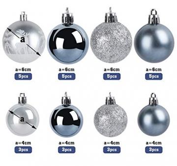 Sweelov Weihnachtsbaum Schmuck 73-teilig Weihnachtskugeln Glitzernd Kunststoff Christbaumschmuck Baumspitze Girlande und Sterne Silber/Grau/Blau, Ø6/4cm - 6