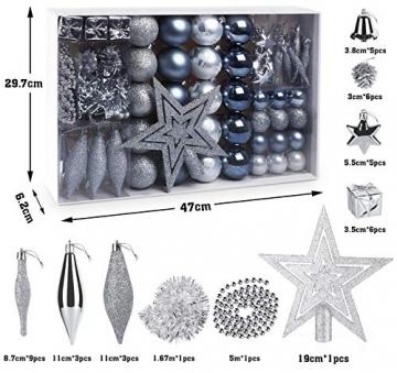 Sweelov Weihnachtsbaum Schmuck 73-teilig Weihnachtskugeln Glitzernd Kunststoff Christbaumschmuck Baumspitze Girlande und Sterne Silber/Grau/Blau, Ø6/4cm - 7