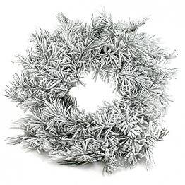 Tannenkranz mit Schnee 46cm, einseitig auf Rebe, künstlich, Türkranz !!! - 1