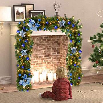 TDCQ Tannengirlande Weihnachtsdeko,Tannengirlande Künstlich Led,Tannengirlande mit Lichterkette,Tannengirlande,Weihnachten Girlande Tanne,Weihnachtsgirlande - 6