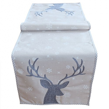 """Tischläufer 40 x 140 cm hellgrau grau weiß eisblau Stickerei """"Hirsch"""" Weihnachten Weihnachtsdeko Weihnachtstischdecke Mitteldecke Tischdeko Tischdecke - 1"""