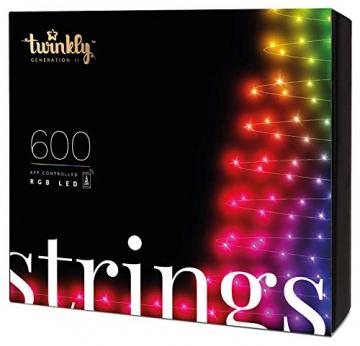 Twinkly - TWS600STP 600 RGB-Multicolor LED Lichterkette - App-gesteuerte LED Weihnachtsbeleuchtung mit schwarzem Kabel (48m) - Unterstützt IoT & Razer Chroma - Dekorationen für Innen- und Außenbereich - 1