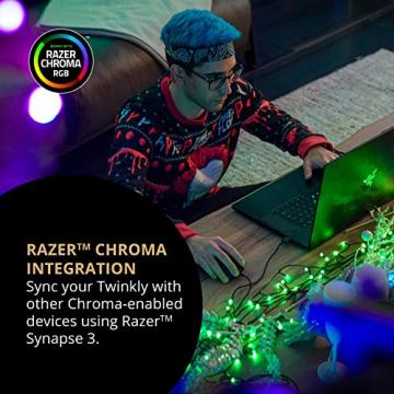 Twinkly - TWS600STP 600 RGB-Multicolor LED Lichterkette - App-gesteuerte LED Weihnachtsbeleuchtung mit schwarzem Kabel (48m) - Unterstützt IoT & Razer Chroma - Dekorationen für Innen- und Außenbereich - 5