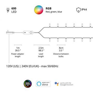 Twinkly - TWS600STP 600 RGB-Multicolor LED Lichterkette - App-gesteuerte LED Weihnachtsbeleuchtung mit schwarzem Kabel (48m) - Unterstützt IoT & Razer Chroma - Dekorationen für Innen- und Außenbereich - 7