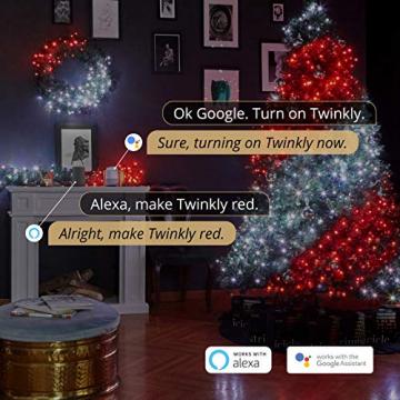 Twinkly - TWS600STP 600 RGB-Multicolor LED Lichterkette - App-gesteuerte LED Weihnachtsbeleuchtung mit schwarzem Kabel (48m) - Unterstützt IoT & Razer Chroma - Dekorationen für Innen- und Außenbereich - 9