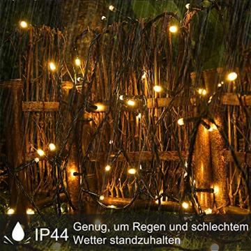 UISEBRT 50m 500 LED Lichterkette Außen Innen Dekoration für Weihnachten, Ostern, Halloween, Hochzeit, Party, mit 8 Leuchtmodi, Wasserdicht IP44 (50m 500LED, Warmweiß) - 2