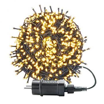 UISEBRT 50m 500 LED Lichterkette Außen Innen Dekoration für Weihnachten, Ostern, Halloween, Hochzeit, Party, mit 8 Leuchtmodi, Wasserdicht IP44 (50m 500LED, Warmweiß) - 1