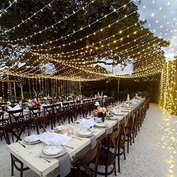 UISEBRT 50m 500 LED Lichterkette Außen Innen Dekoration für Weihnachten, Ostern, Halloween, Hochzeit, Party, mit 8 Leuchtmodi, Wasserdicht IP44 (50m 500LED, Warmweiß) - 8