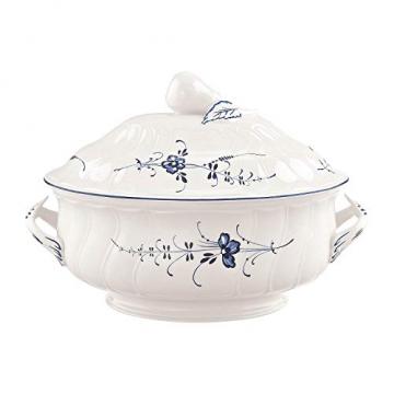 Villeroy und Boch Vieux Luxembourg Terrine, Premium Porzellan, weiß/blau - 1