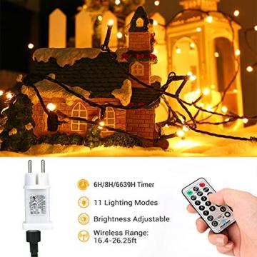 Weihnachten Lichterkette Außen, BrizLabs 25M 200 LED Warmweiß und Bunt Dimmbar 11 Modi 3 Timer Wasserdicht Strom Beleuchtung mit Fernbedienung für Weihnachtsbaum Innen Hochzeit Party Haus Garten Deko - 4
