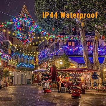 Weihnachten Lichterkette Außen, BrizLabs 25M 200 LED Warmweiß und Bunt Dimmbar 11 Modi 3 Timer Wasserdicht Strom Beleuchtung mit Fernbedienung für Weihnachtsbaum Innen Hochzeit Party Haus Garten Deko - 5
