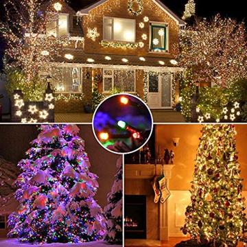 Weihnachten Lichterkette Außen, BrizLabs 25M 200 LED Warmweiß und Bunt Dimmbar 11 Modi 3 Timer Wasserdicht Strom Beleuchtung mit Fernbedienung für Weihnachtsbaum Innen Hochzeit Party Haus Garten Deko - 6