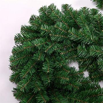 Weihnachtsgirlande mit Beleuchtung, Treer Tannengirlande Batterie Remote 2 Modus Lichterkette Weihnachten Dekoration2.7 Meter für Innen und Außen Verwendbar (DIY grün,2.7M) - 4