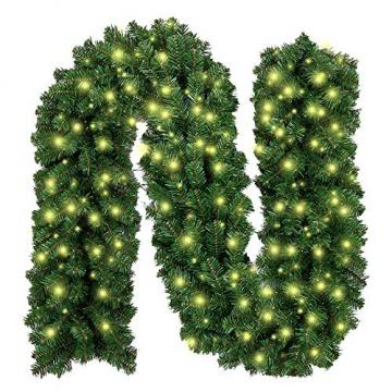 Weihnachtsgirlande mit Beleuchtung, Treer Tannengirlande Batterie Remote 2 Modus Lichterkette Weihnachten Dekoration2.7 Meter für Innen und Außen Verwendbar (DIY grün,2.7M) - 1