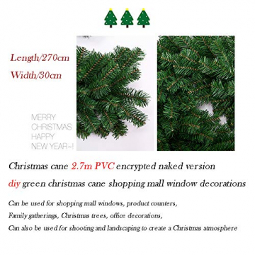Weihnachtsgirlande mit Beleuchtung, Treer Tannengirlande Batterie Remote 2 Modus Lichterkette Weihnachten Dekoration2.7 Meter für Innen und Außen Verwendbar (DIY grün,2.7M) - 5