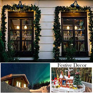 Weihnachtsgirlande mit Beleuchtung, Treer Tannengirlande Batterie Remote 2 Modus Lichterkette Weihnachten Dekoration2.7 Meter für Innen und Außen Verwendbar (DIY grün,2.7M) - 7