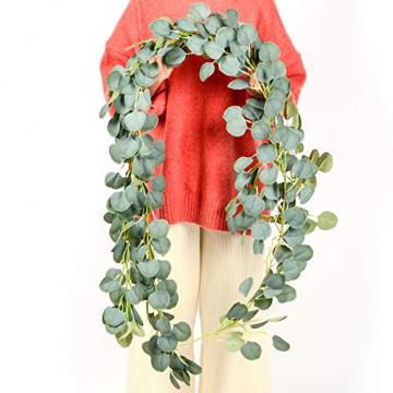 YQing Eukalyptus Girlande Künstlich Pflanze, Eukalyptus Blätter Deko Girlande Hochzeit Eukalyptus Kranz Kunstpflanze Urlaub Hochzeit Home Dekoration Zubehör - 5