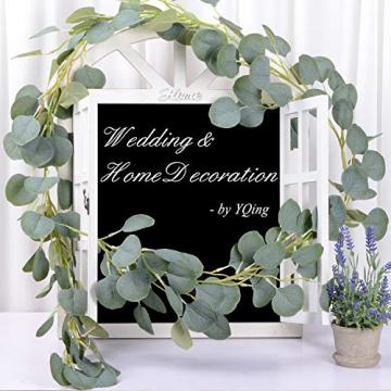 YQing Eukalyptus Girlande Künstlich Pflanze, Eukalyptus Blätter Deko Girlande Hochzeit Eukalyptus Kranz Kunstpflanze Urlaub Hochzeit Home Dekoration Zubehör - 7