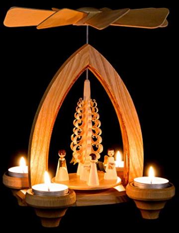 1-stöckige Weihnachtspyramide Engel - Natur - 26 cm - 100% Erzgebirge Pyramide - 4