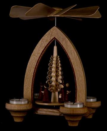 1-stöckige Weihnachtspyramide Kurrende - Natur - 26 cm - 100% Erzgebirge Pyramide - 5